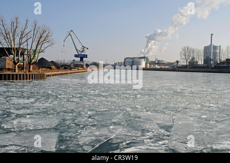 Frozen, icy Dortmund-Ems Canal, harbour, Dortmund, Ruhr Area, North Rhine-Westphalia, Germany, Europe, PublicGround - Stock Photo