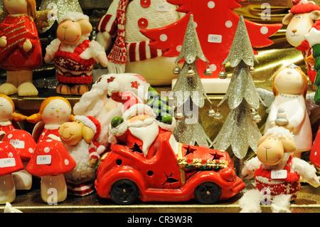 Santa Claus figures, Christmas market, Dortmund, North Rhine-Westphalia, Germany, Europe - Stock Photo