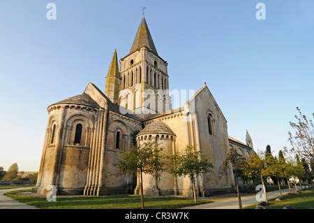 Eglise Saint Pierre church, French Way, Way of St James, Aulnay, Charente-Maritime, Poitou-Charentes, France, Europe - Stock Photo