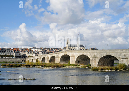 Pont Jacques Gabriel across the Loire river, Cathedrale Saint-Louis, Blois, Loir-et-Cher, Centre, France, Europe, - Stock Photo