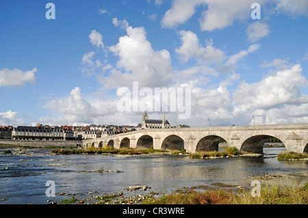 Pont Jacques Gabriel across the Loire river, Cathedrale Saint-Louis, Blois, Loir-et-Cher, Centre, France, Europe, - Stock Photo