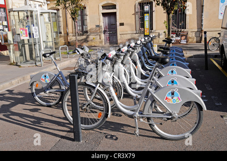 Rental bikes, Dijon, Cote-d'Or, Bourgogne, Burgundy, France, Europe, PublicGround - Stock Photo