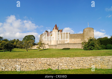 Chateau, castle, Chateauneuf, Dijon, Cote-d'Or, Bourgogne, Burgundy, France, Europe, PublicGround - Stock Photo
