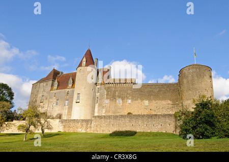 Chateau, castle, Chateauneuf, Dijon, Cote-d'Or, Bourgogne, Burgundy, France, Europe, PublicGround - Stock Photo