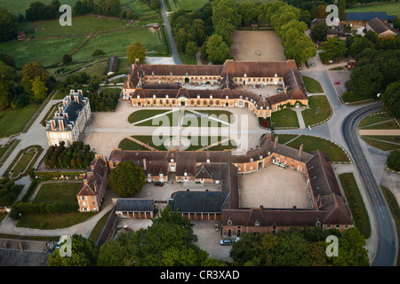 France, Orne, Le Pin-au-Haras, stud farm Haras national du Pin, breeder horses, stables, castle of the 18th century, - Stock Photo