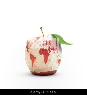 Peeled apple forming the world map - Stock Photo