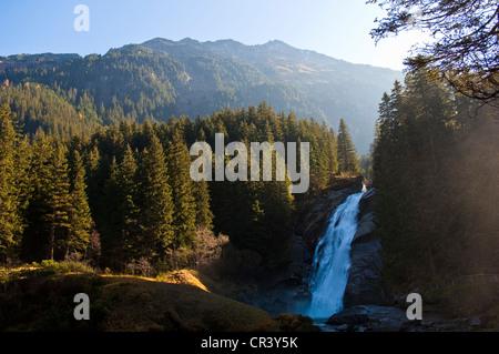 Austria, Salzburg Land, Krimml, Hohe Tauern national park, tourist circuit of Krimml waterfall, Krimmler Wasserfälle
