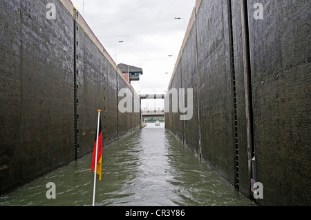 German flag on the bow of a ship passing through Henrichenburg lock, Castrop-Rauxel, North Rhine-Westphalia, PublicGround - Stock Photo