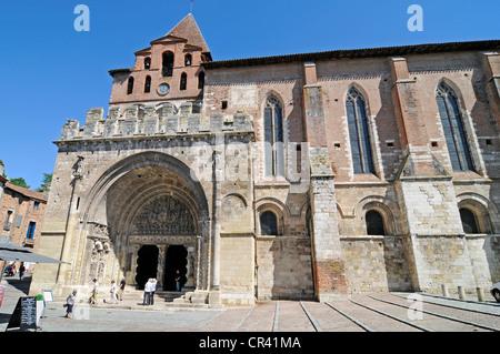 Abbaye Saint-Pierre de Moissac abbey church, Via Podiensis or Chemin de St-Jacques or French Way of St. James - Stock Photo