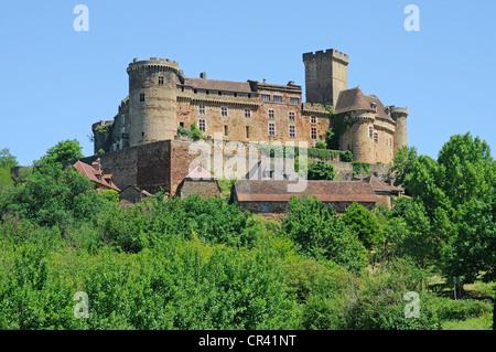 Chateau de Castelnau, Prudhomat, castle, museum, Department Lot, Midi-Pyrenees, France, Europe - Stock Photo