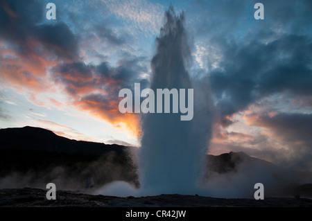 Strokkur Geyser, Haukadalur Valley, Golden Circle, Suðurland, Sudurland, Southern Iceland, Iceland, Europe - Stock Photo