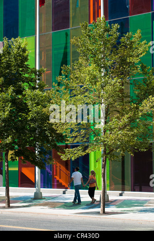 Canada, Quebec Province, Montreal, International District, Palais des Congres (Convention Hall) and its multicolored - Stock Photo