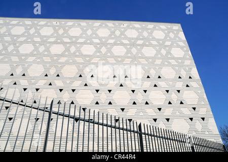 Stars of David, facade, fence, New Synagogue, Bochum, Ruhrgebiet area, North Rhine-Westphalia, Germany, Europe - Stock Photo
