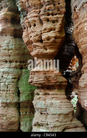 Climbing area, natural monument, Altschlossfelsen or Old Castle Rock in Eppenbrunn, Palatinate Forest Nature Reserve - Stock Photo