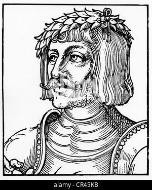 Ulrich von Hutten, 1488-1523, historical wood carving by Erhard Schoen, ca. 1522 - Stock Photo