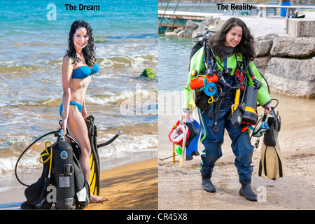 A beautiful girl shows the contrast between The Dream and The Reality of scuba diving expectations in a humorous - Stock Photo