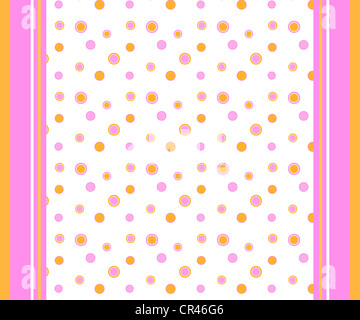 Polka dots and stripes pattern in bright orange and pink colors - Stock Photo