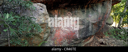 Australia, Northern Territory, Kakadu National Park UNESCO World Heritage, Nourlangie Rock, Aboriginal paintings - Stock Photo