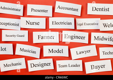 Career choices on a board, concept for choosing career, recruitment, situation vacant. - Stock Photo
