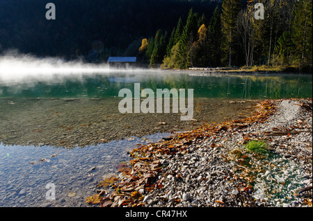 Autumnal morning mood on Lake Walchensee, at Obernach Canal, Upper Bavaria, Bavaria, Germany, Europe - Stock Photo