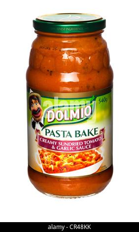 Dolmio Pasta Bake Creamy Sundried Tomato and Garlic Sauce - Stock Photo