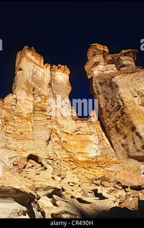 Chile, Antofagasta Region, El Loa Province, salar de Tara, stone formations in the mineral landscape of the chilean - Stock Photo