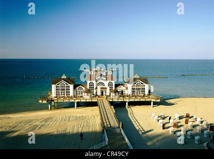 Pier, Sellin, Ruegen, Mecklenburg-Vorpommern, Germany, Europe - Stock Photo