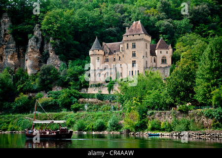 Château de La Malartrie castle, La Roque-Gageac village, Dordogne river, Dordogne Valley, Aquitaine, France, Europe - Stock Photo