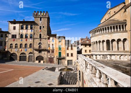 Italy, Tuscany, Arezzo, Piazza Grande - Stock Photo