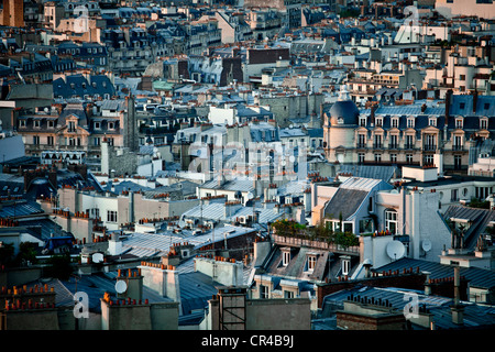 View of Paris from Arc de Triomphe, Triumphal Arch, in Paris, France, Europe - Stock Photo