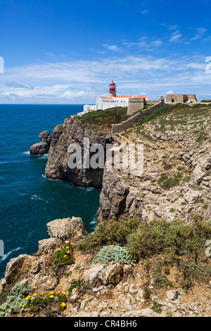 The lighthouse at Cabo de Sao Vicente (Cape St Vincent), the southwesternmost point on the European mainland, Algarve, - Stock Photo