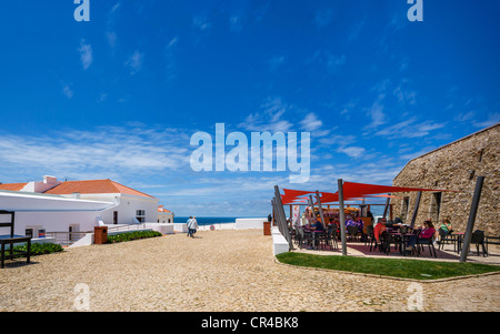Courtyard and cafe by the lighthouse at Cabo de Sao Vicente (Cape St Vincent), Algarve, Portugal - Stock Photo