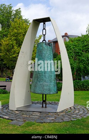 Peace bell in the park of St. Patrick Cathedral, Dublin, Republic of Ireland, Europe - Stock Photo