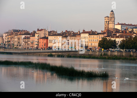 France, Saone et Loire, Macon, the old city from Saone river banks docks, Vieux St Vincent Cathedral in the background - Stock Photo