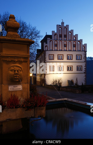 Market fountain in front of Schloss Vellberg Castle, Buehlertal, Hohenlohe, Swabian-Franconian Forest, Baden-Wuerttemberg - Stock Photo