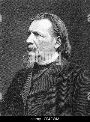 Karl Ferdinand Gutzkow (1811 - 1878), writer, steel engraving according to a photo from c. 1875 - Stock Photo