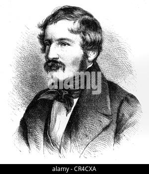 Nikolaus Lenau or Nikolaus Franz Niembsch, since 1820 Edler von Strehlenau, (1802 - 1850), writer, engraving 1841 - Stock Photo