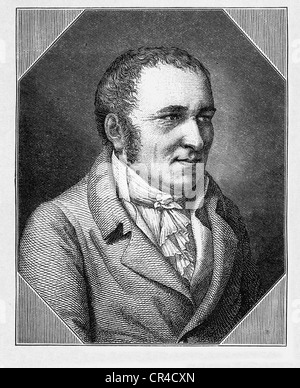 Johann Peter Hebel (1760 - 1826), poet, writer, steel engraving after an image by Fr. Mueller, before 1880 - Stock Photo