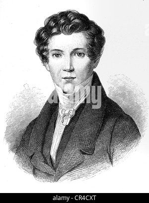 Wilhelm Hauff (1802 - 1827), writer, steel engraving after an oil picture by J.M. Holder - Stock Photo