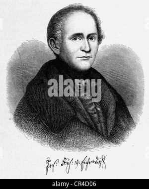 Joseph Karl Benedikt Freiherr von Eichendorff (1788 - 1857), poet, writer, steel engraving, before 1880 - Stock Photo