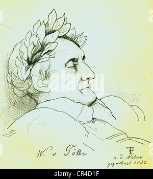 Johann Wolfgang von Goethe (1749-1832), poet, drawing by Fr. Preller on the deadhbed, steel engraving, before 1880 - Stock Photo