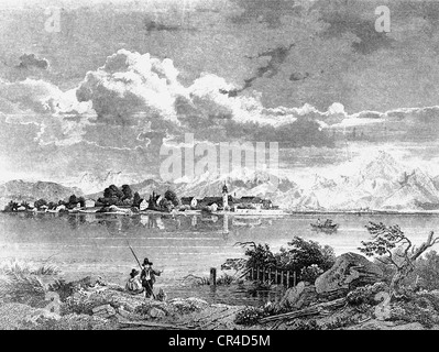 Frauenchiemsee island in Lake Chiemsee, in front of the Chiemgau mountains, about 1830, drawn by W. Scheuchzer - Stock Photo