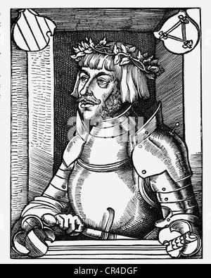 Ulrich von Hutten (1488-1523) after a wood carving by E. Schoen - Stock Photo