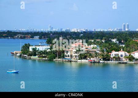 United States, Florida, Miami, Biscayne Bay, Palm Island, in the background Miami beach - Stock Photo