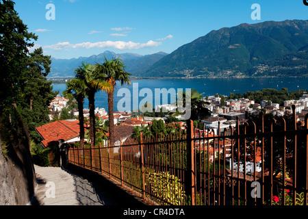 Lake Maggiore, Locarno, Canton of Ticino, Switzerland, Europe - Stock Photo