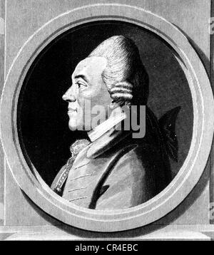 Nicolai, Christoph Friedrich, 18.3.1733 - 8.1.1811, German author / writer, portrait, profile, based on drawing - Stock Photo