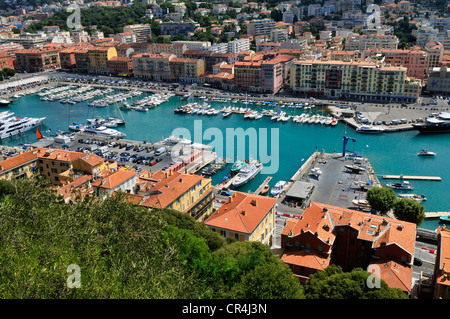 View over the harbour of Nice, Nizza, Cote d'Azur, Alpes Maritimes, Provence, France, Europe - Stock Photo