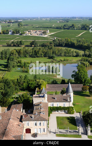 France, Gironde, Margaux, chateau Lafite Rothschild in Medoc region, Premier Cru Classe and chateau Cos d'Estournel - Stock Photo