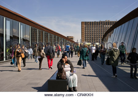 Walkway between Stratford station and the Westfield Shopping Centre, east London - Stock Photo