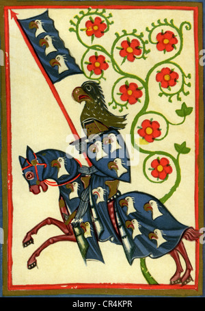 Hartmann von Aue, German poet, 13th century, minnesinger, in armour on horseback, illustration from the Codex Manesse, - Stock Photo